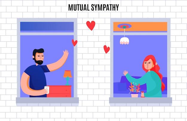 Wederzijdse sympathie tussen man en vrouw compositie met buren zwaaien elkaar vanuit ramen Gratis Vector