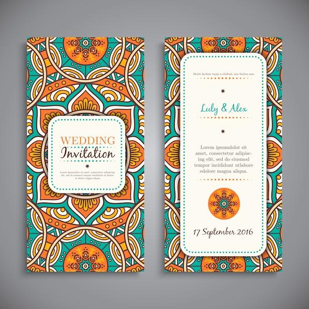 Weding uitnodigingskaart vintage decoratieve elementen hand getekende achtergrond Gratis Vector