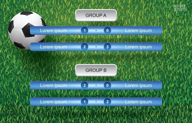 Wedstrijdschema voor voetbal. Premium Vector
