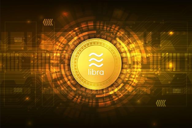 Weegschaal cryptocurrency digitale valuta met circuit abstract Premium Vector