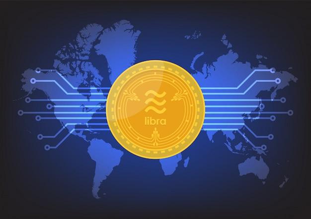 Weegschaal digitale valuta met wereldkaart Premium Vector