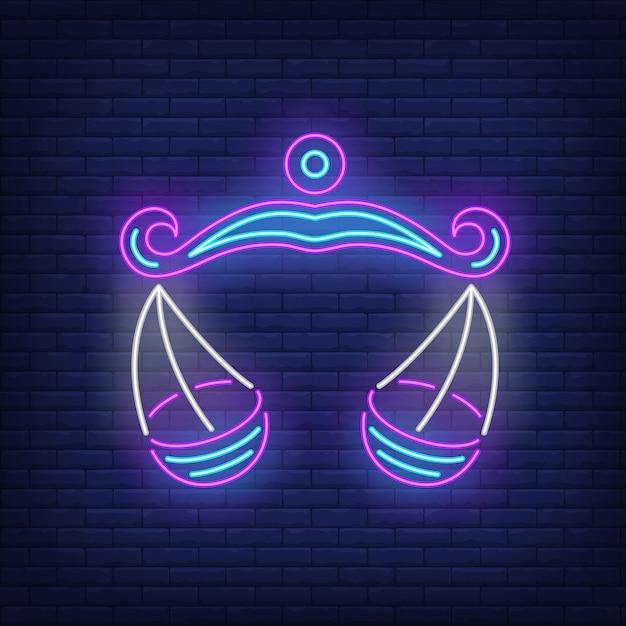 Weegschaal neon sign Gratis Vector