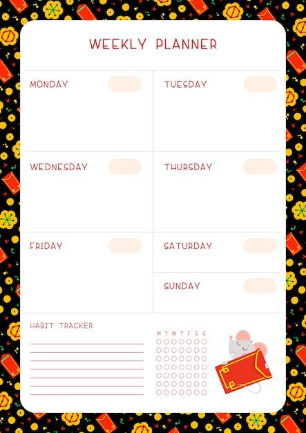 Week tijdschema en gewoonte tracker met kleine muis platte vector sjabloon. Premium Vector
