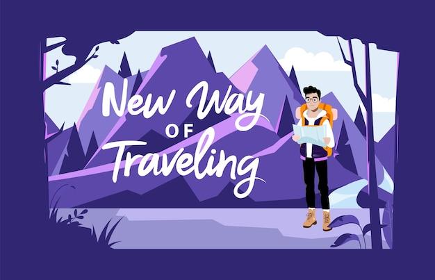 Weekend avontuur, wandelen en kamperen concept. mannelijke karakter toerist met rugzak kaart kijken en planning van een route. mannelijke karakter gaan wandeling op bergen. Premium Vector