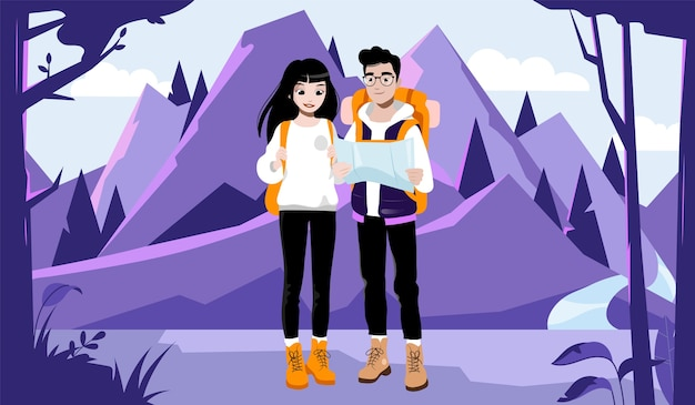 Weekend avontuur, wandelen en kamperen concept. paar jonge toeristen met rugzakken en routekaart. mannelijke en vrouwelijke personages gaan wandelen in de bergen Premium Vector