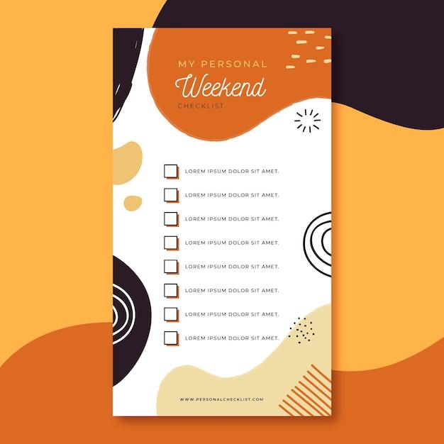 Weekend checklist sjabloon Gratis Vector