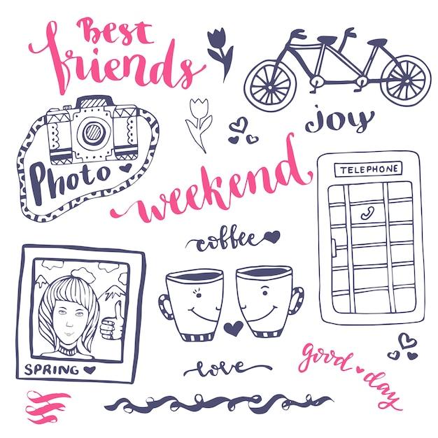 Weekend schets kunst romantische set hand getrokken elementen met telefooncel, foto en fiets. voor wenskaart vectorillustratie. Premium Vector
