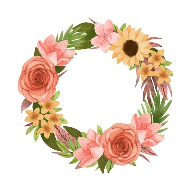 Weelderige bloemen krans in aquarel stijl Gratis Vector