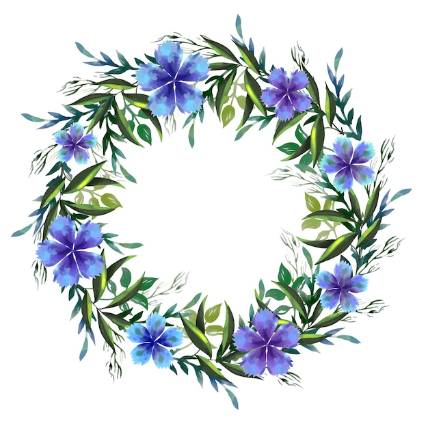 Weelderige bloemen krans in aquarel stijlthema Gratis Vector