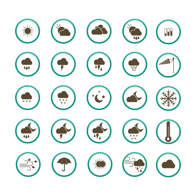 Weer icon collection Gratis Vector