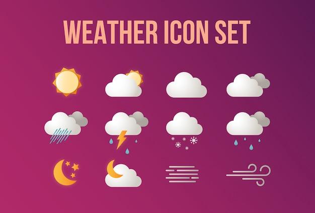 Weer icon set Premium Vector