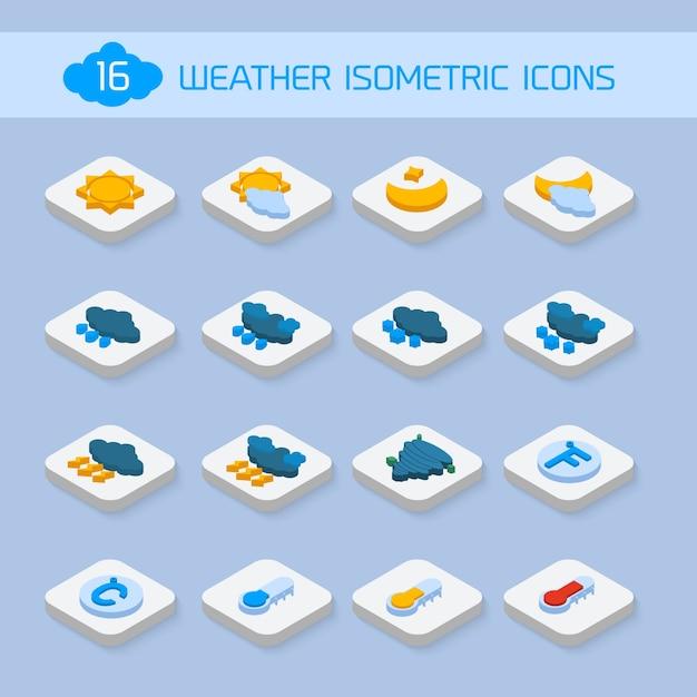 Weer isometrische iconen Premium Vector