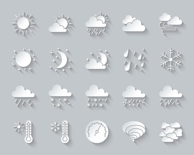 Weer, meteorologie, klimaat icon set omvat zon, wolk, sneeuw, regen, papier knippen, materiaalontwerp. Premium Vector