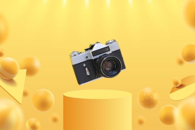 Weergavesjabloon met camera Gratis Vector