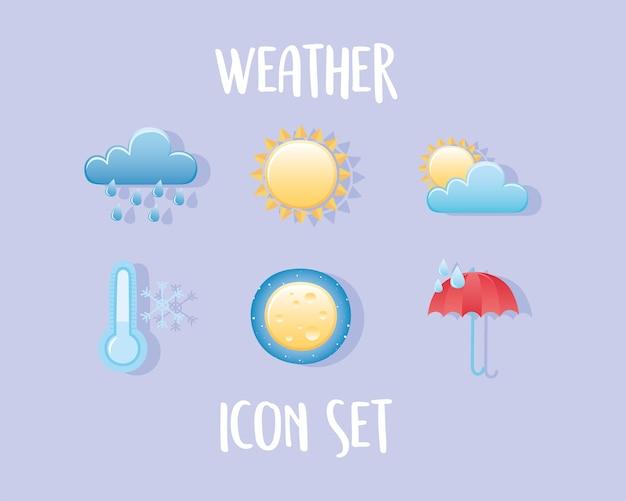 Weerpictogrammen instellen wolk regen zon koude paraplu nacht maan Premium Vector