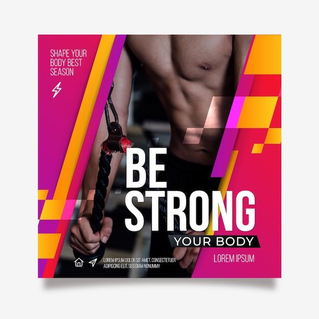 Wees een sterke sportposter Gratis Vector