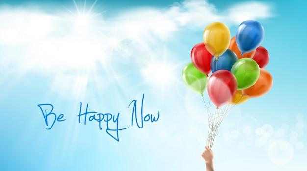 Wees nu gelukkig, motiverende positieve banner. inspirerende zin, woorden van wijsheid Gratis Vector