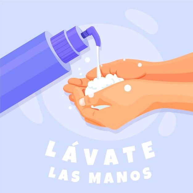 Wees schoon en was je handen met water en zeep Gratis Vector