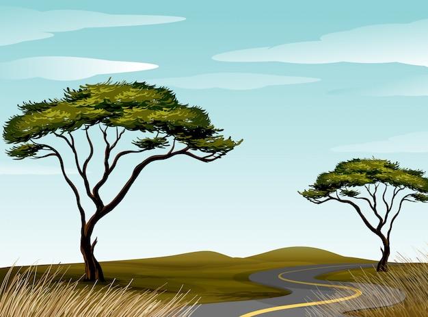 Weg door savanneveld Premium Vector