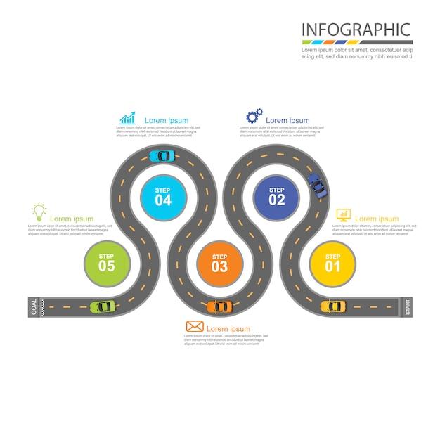 Weg infographic ontwerp Premium Vector
