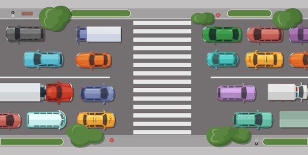 Weg met auto's voor voetgangersgebied Premium Vector