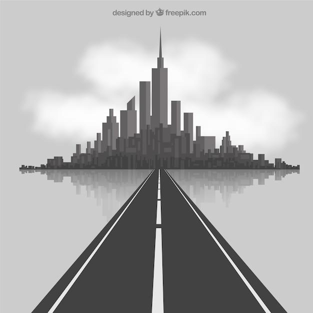 Weg naar de stad Gratis Vector