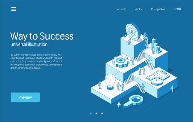 Weg naar succes. mensen uit het bedrijfsleven teamwork proces. moderne isometrische lijn illustratie. idee-onderzoek, strategieplan, marketing, doeldoelen icoon. 3d-achtergrond. groei stap infographic concept. Premium Vector