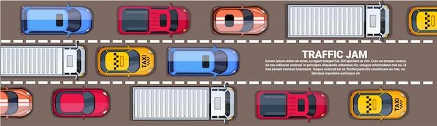 Weg vol met verschillende auto's bovenste hoekmening van verkeersopstopping op snelweg horizontale banner Premium Vector