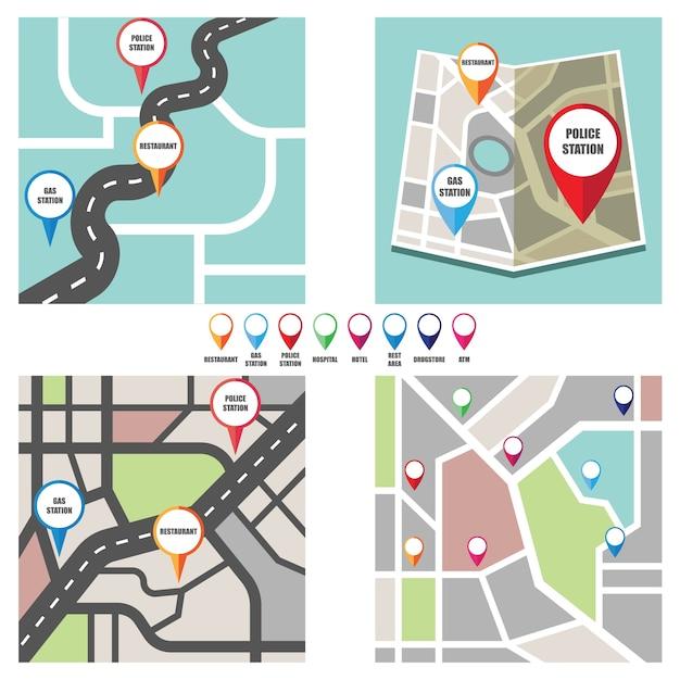 Wegenkaart met kleurrijke pinpijler naar belangrijke openbare ruimte Gratis Vector