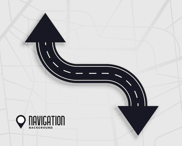 Wegnavigatieachtergrond met pijlteken Gratis Vector