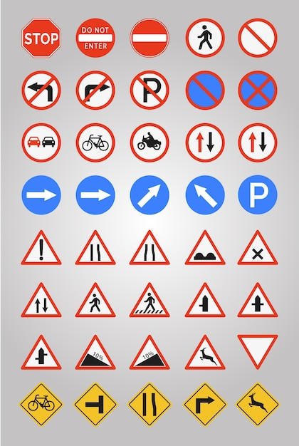 Wegtekens pictogram collectie Gratis Vector