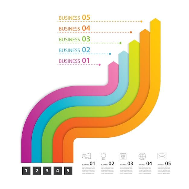 Wegtijdlijninfographicszaken met stap 5 Premium Vector