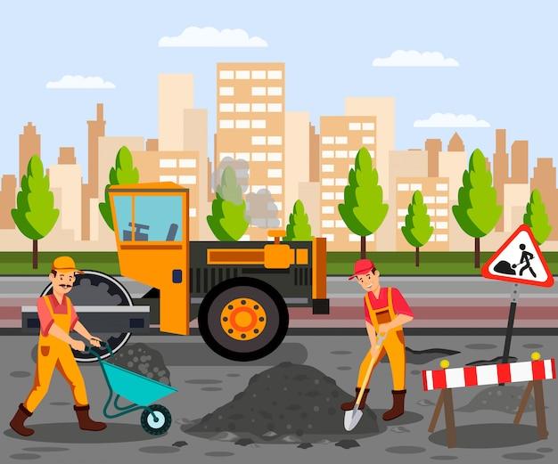 Wegwerkzaamheden, asfalt bestrating egale kleur illustratie Premium Vector