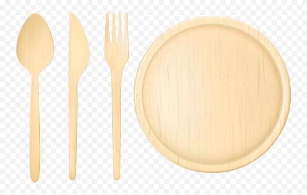Wegwerp houten servies realistische vector set Gratis Vector