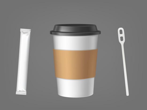 Wegwerp koffiekopje met stok en suiker set Gratis Vector