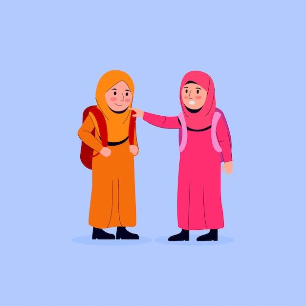 Weinig arabisch kind kalmeert haar vriend Premium Vector