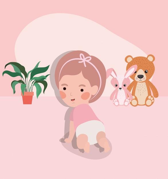 Weinig baby meisje kruipen karakter Gratis Vector
