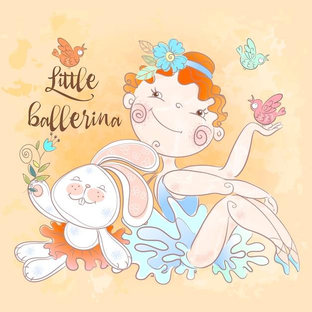 Weinig ballerinameisje met een konijntjesstuk speelgoed. Premium Vector