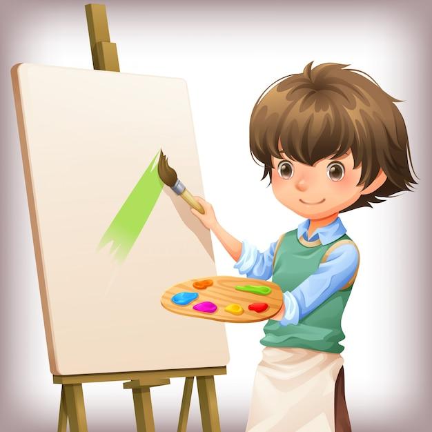 Weinig jongen het schilderen de vectorillustratie van het karakterontwerp Premium Vector