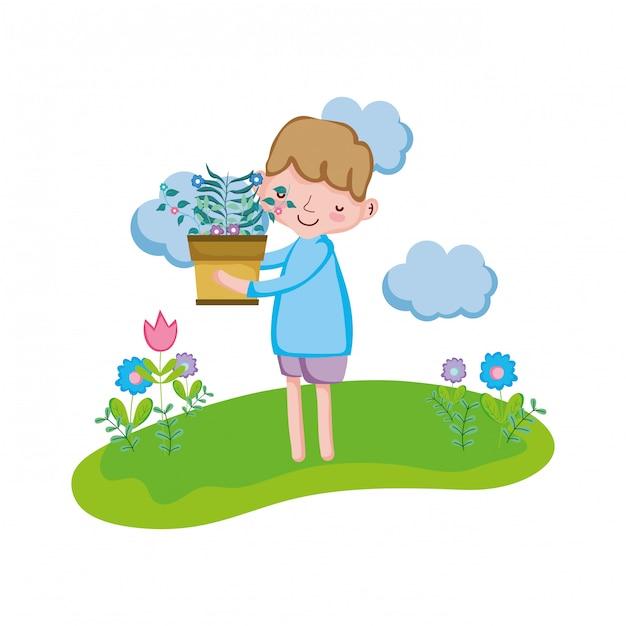 Weinig jongen houseplant in het landschap opheffen Premium Vector