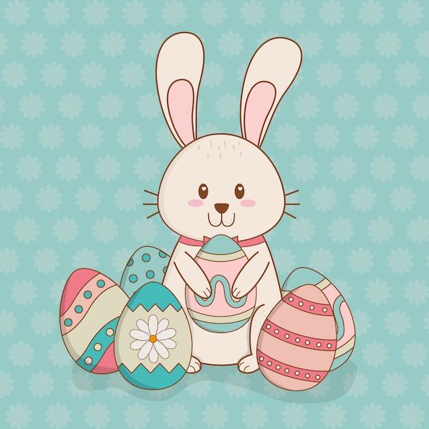 Weinig konijn met ei geschilderd pasen-karakter Premium Vector