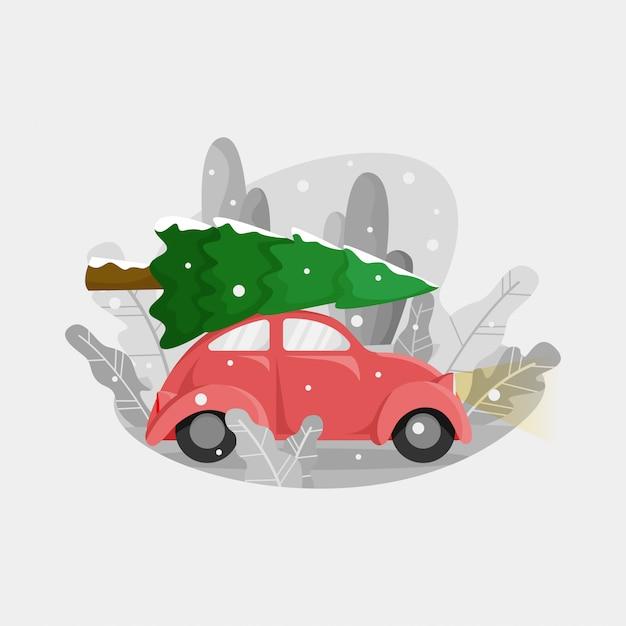 Weinig rode auto brengt kerstboom boven Premium Vector