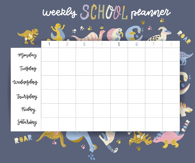 Wekelijkse en dagelijkse planner pagina ontwerpsjabloon kinderen kalender. leuke handgetekende kleine dino-personages. terug naar schoolontwerp. Premium Vector