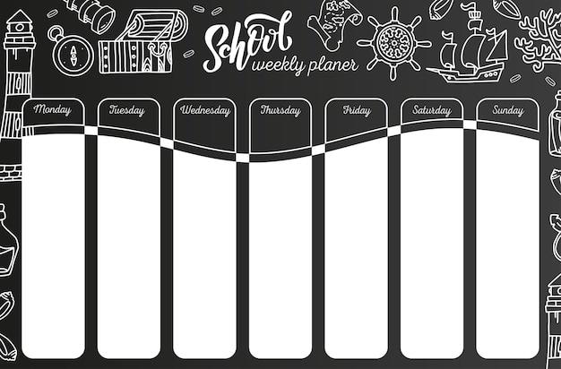 Wekelijkse kalender op schoolbord. 7 dagenplan op zwart bord. school rooster Premium Vector