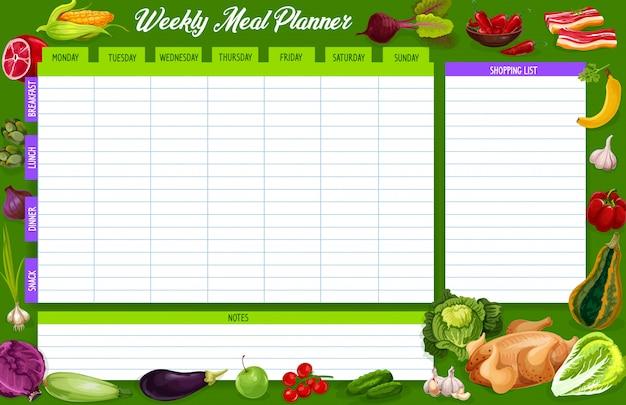 Wekelijkse maaltijdplanner, dagboek voor voedingsweekplanning Premium Vector