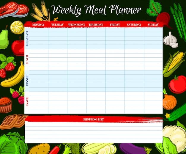 Wekelijkse maaltijdplanner, vector voedselweekplan dagboek Premium Vector