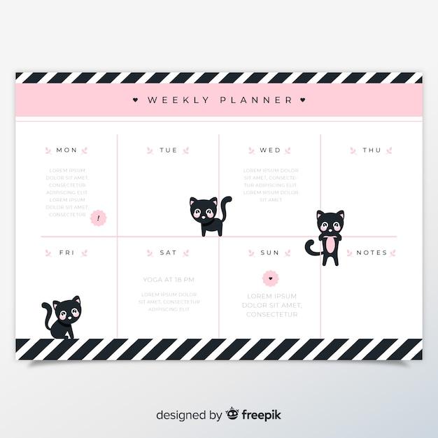 Wekelijkse planningsmalplaatje met mooie kat Gratis Vector