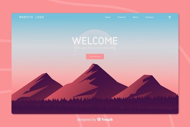 Welkom-bestemmingspagina met verlooplandschap Gratis Vector