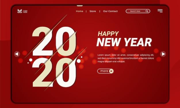 Welkom bij 2020, het nieuwe jaarthema met het slice-effect op de bestemmingspagina Premium Vector