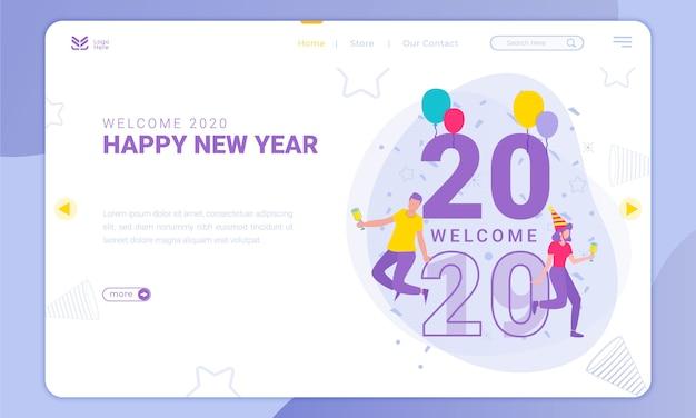 Welkom bij 2020, nieuwjaarsthema op de bestemmingspagina Premium Vector